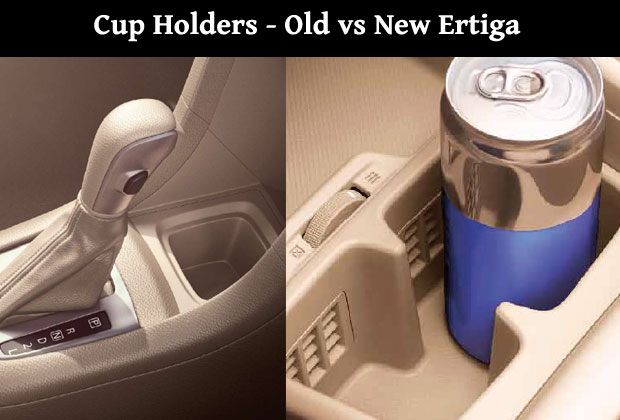 New Ertiga vs Old Ertiga - Cup holders