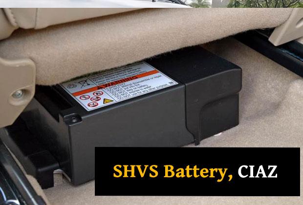 SHVS Battery in 2018 facelift of Maruti Ciaz sedan
