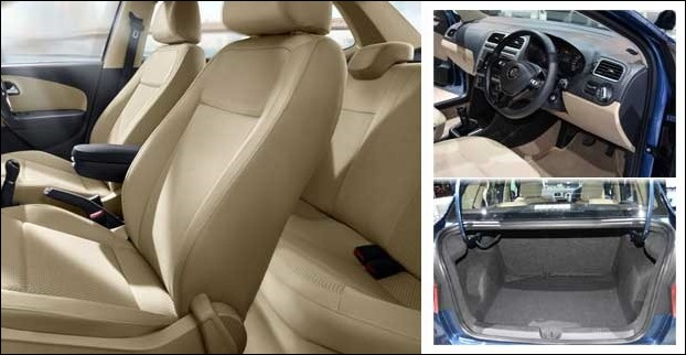 The 5 seated VW Ameo has a huge cargo volume with 330 litres of boot Space