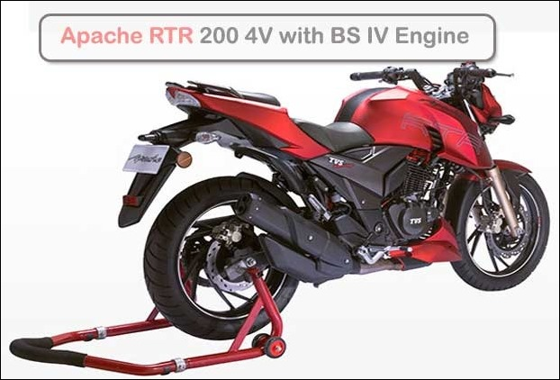 TVS Apache RTR 200 4V Bike with BS IV Engine and AHO