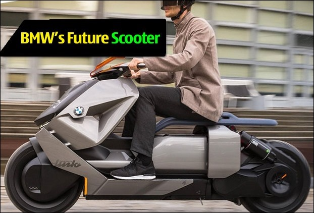 This BMW's concept 'future electric scooter' has a reverse gear !