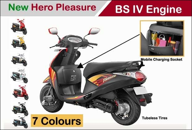 The new 7 colour Hero Pleasure BS IV Scooter comes with mobile charging socket mounted inside the front compartment