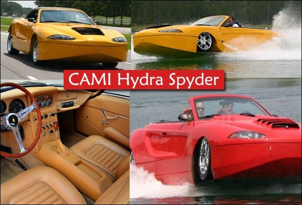Cami Hydra Spyder water car has a speed of 125 MPH on the road and 53 MPH on the water