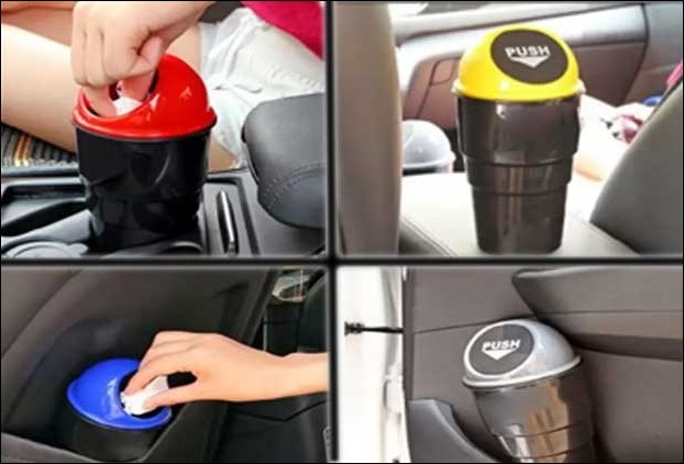 Mini dustbin is a useful utility and a must buy accesory to collect small car garbages