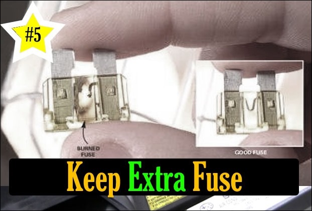 Before going anywhere, keep an extra fuse into your car
