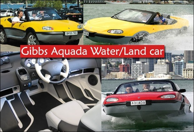 Gibbs Aquada water-Land car has a speed of up to 99 MPH on land and 30 MPH on water