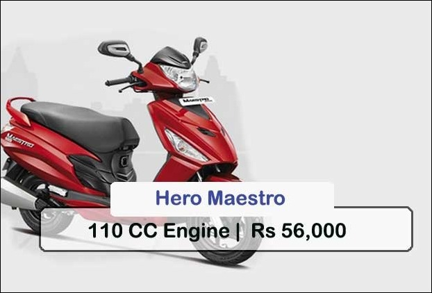 Hero Maestro may be your another better option for 110cc scooters for a price of Rs 56,000