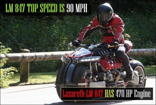 4 tyred Lazareth LM 847 with 90mph (150kmpl) top speed has a very quick acceleration using 470 HP engine