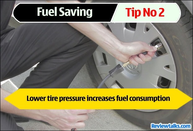 Low air pressure in tyres decreases fuel efficiency