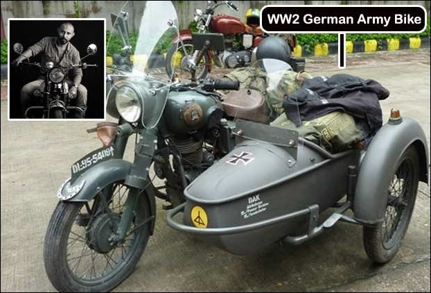 Bobbee's replica of WWII German army motorcycle with a sidecar and a machinegun stand