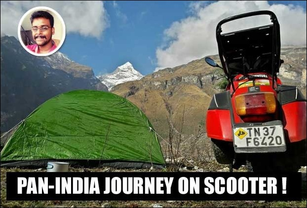 Rider from Coimbatore is making an adventurous journey across India on modified Chetak Scooter