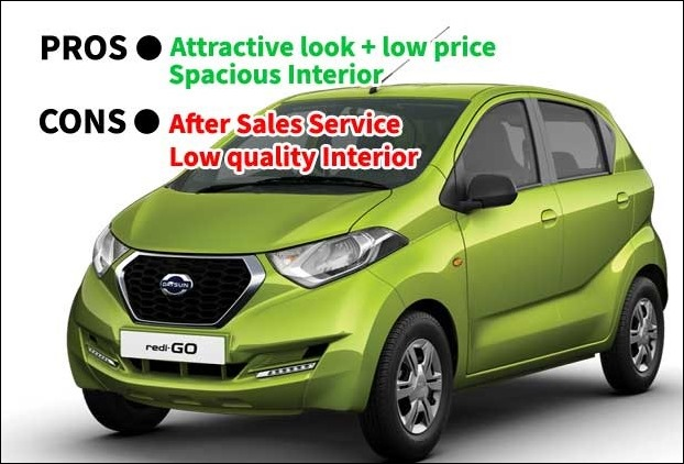 Datsun-Redigo is a low price car with spacious interior but suffers from poor after sales service