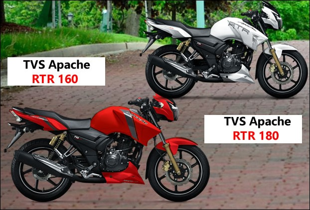 TVS Apache RTR 160/RTR 180 new variant models launched in new colours
