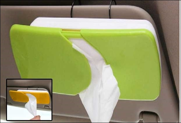 Sun visor mounted Tissue paper holder is another useful accesory for your car