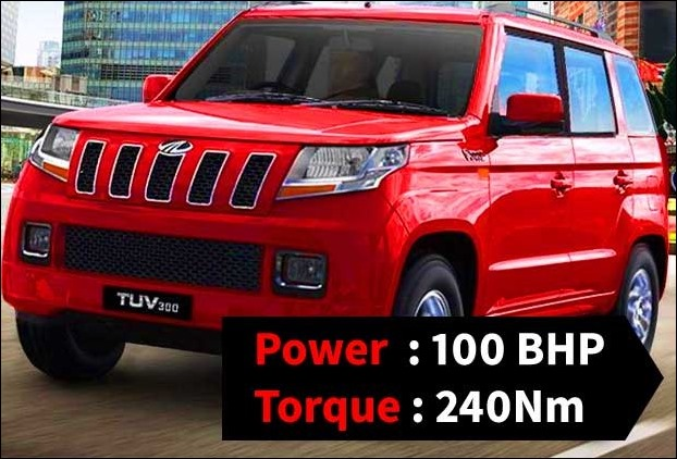 TUV 300 uses 1493cc diesel engine of mHawk BS4 produceing 100BHP making the most powerful engine in the segment with torque