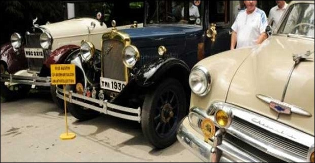 Vintage cars for an exhibition in Chennai