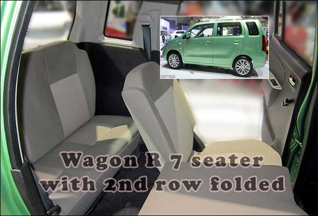 Wagon R 7 seater interior with 2nd row folded