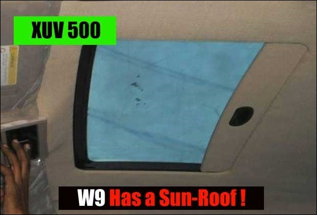 w9 variant of XUV 500 has been given a sunroof