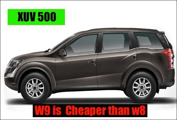Price of XUV 500 W9 is less than W8 variant